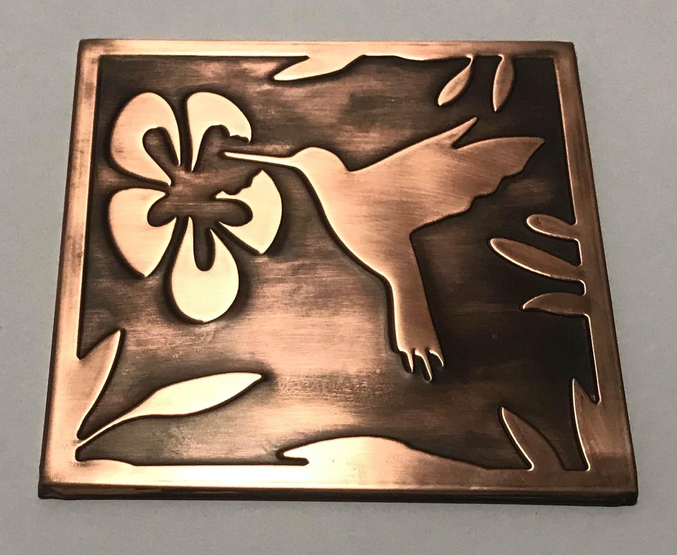 - Hummingbird, 100% Copper Tile, Metal Wall Art, Wall Tile, Kitchen