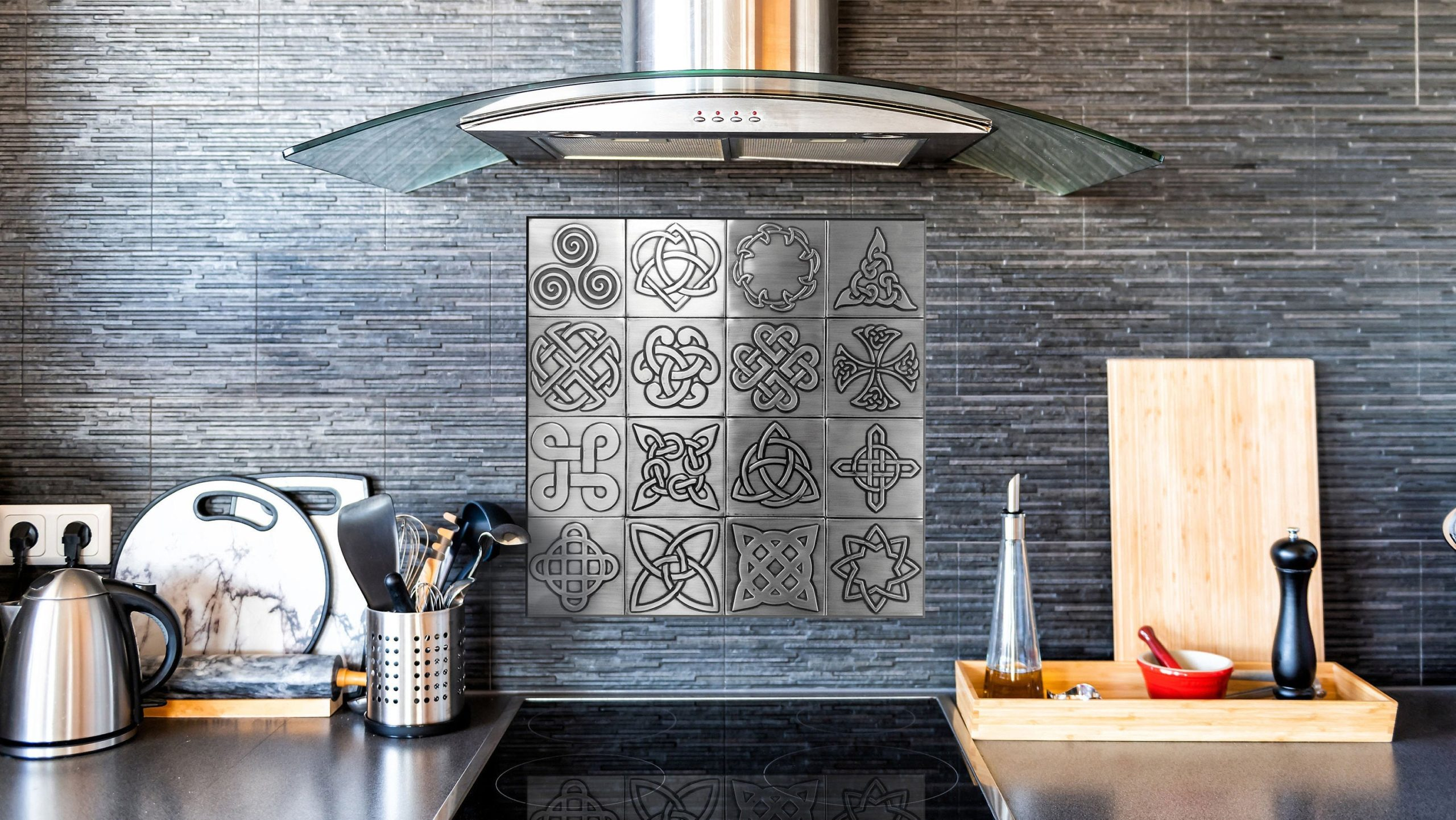 - Beautiful Celtic Backsplash. Set Of 16 Stainless Steel, Copper Or