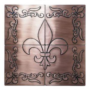 Copper//Aluminum FleurR d Lis 4X4 DecorativeE Wall Tile