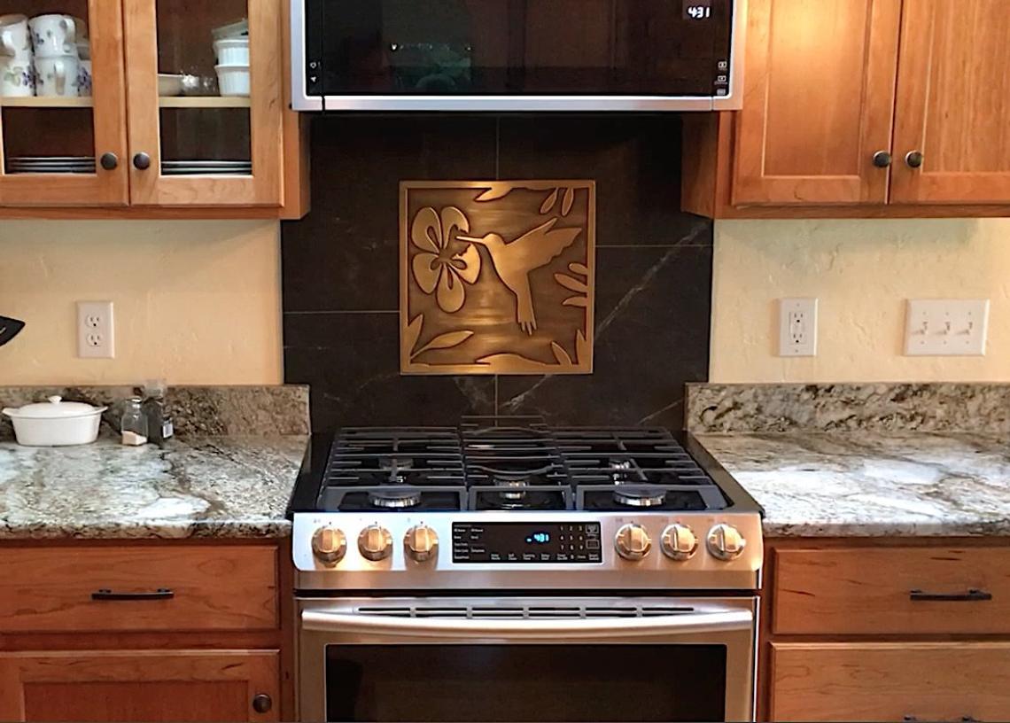 Hummingbird 100 Copper Tile Metal Wall Art Kitchen Rustic Deco Accent Backsplash Craft