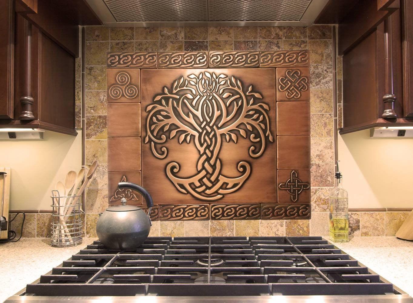 Beautiful Celtic Tree Of Life Set Of 17 Handmade Copper Tiles Kitchen Rustic Backsplash Tiles Copper Craft